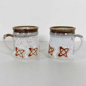 Pair of Vintage Speckled Ceramic Coffee Mugs